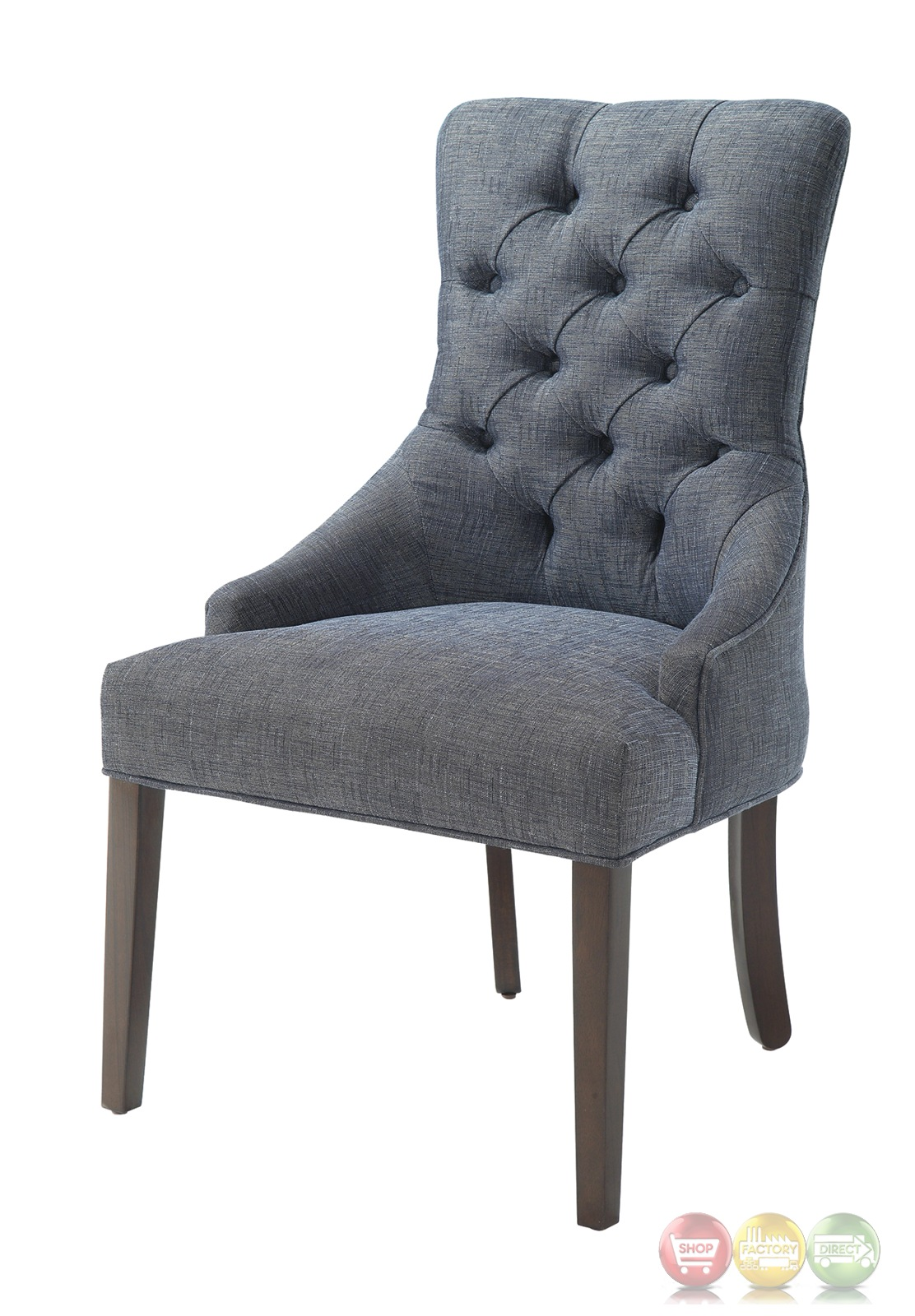 Accent Chair Blue Caprice Button Tufted Blue Grey Linen Accent Chair