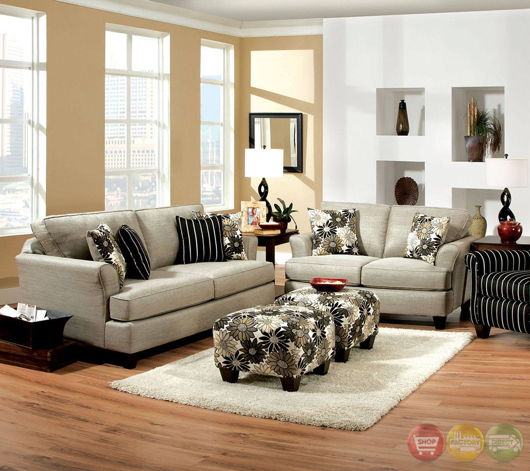 Cardiff Contemporary Light Gray and Floral Fabric Living Room Set with Plush Cushions SM5042