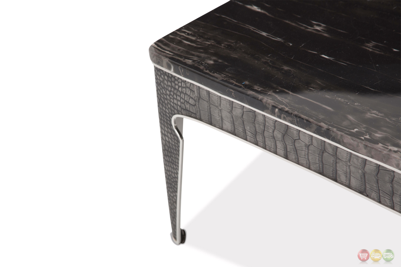 Carson Urban Coffee Table w/ Marble Top & Silver Stainless