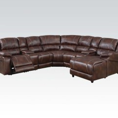 Wide Sofa Sectionals Power Lift Casual Brown 7 Piece Reclining Sectional W/ Storage ...