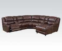 7 Piece Sectional Sofa | Brown Faux Leather Sofa