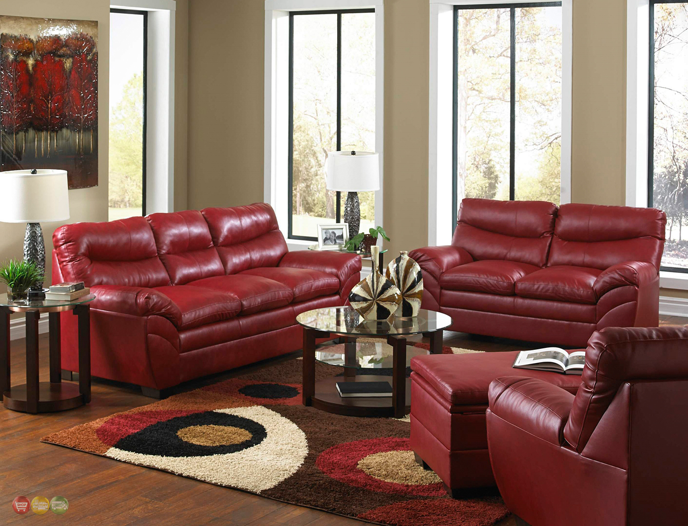 Leather Living Room Chair Casual Contemporary Red Bonded Leather Sofa Set Living