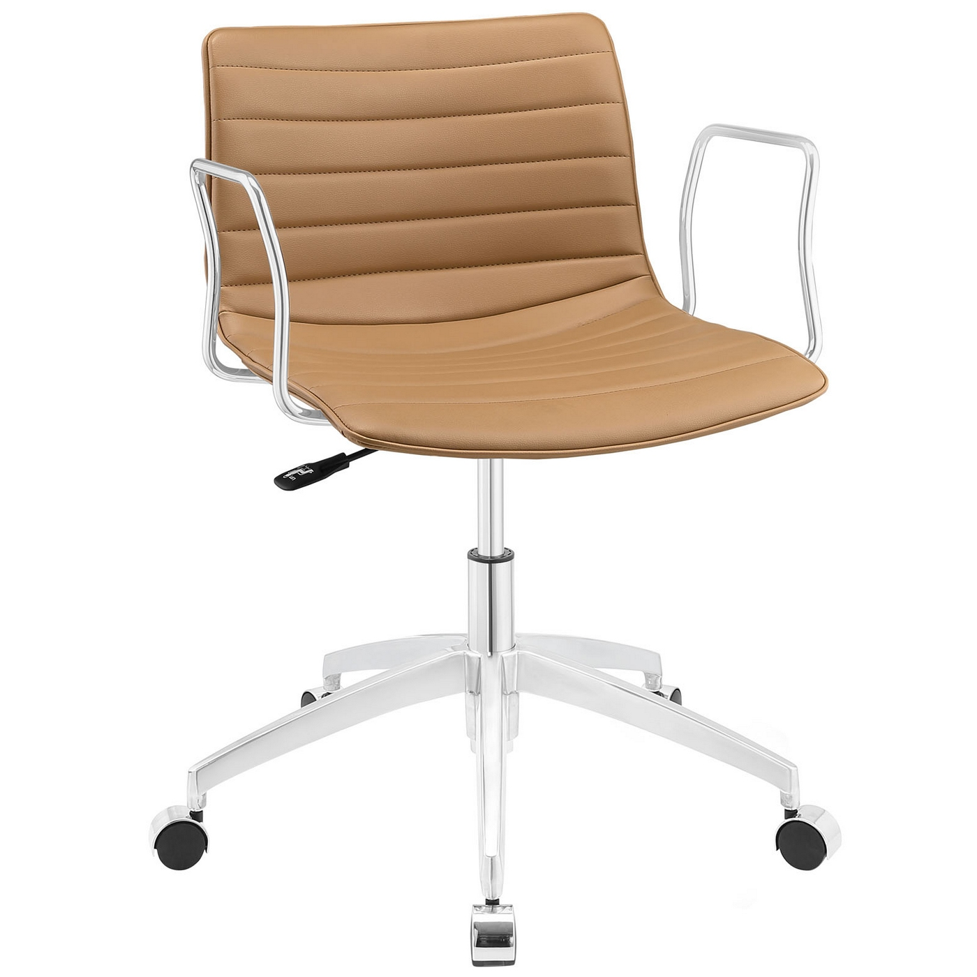 chair steel base with wheels wicker back dining chairs celerity modern form fitting vinyl office