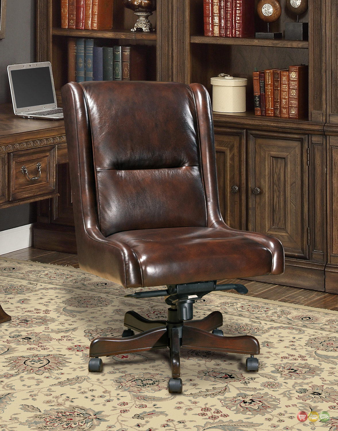Cigar Brown Genuine Leather Armless Desk Chair Traditional Office Furniture  eBay