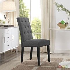 Grey Upholstered Chair White Legs Desk Office Max Confer Modern Button Tufted Side W Wood