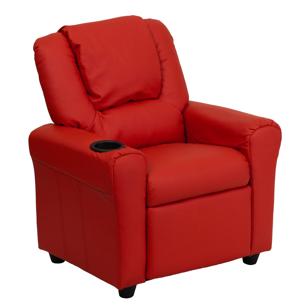 Contemporary Red Vinyl Kids Recliner with Cup Holder and