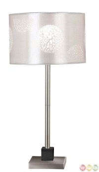 Cordova Brushed Steel Accent Drum Shade Table Lamp