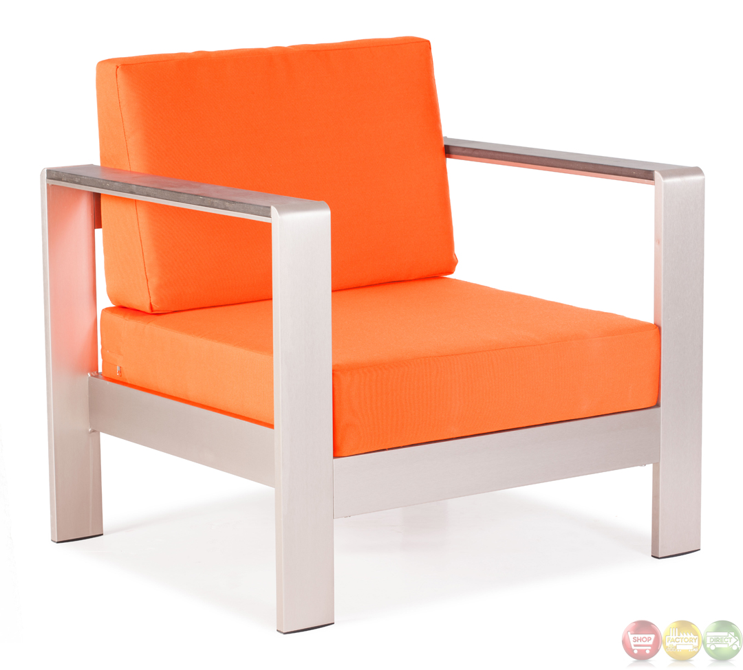 Modern Orange Chair Cosmopolitan Orange Arm Chair Cushions Zuo Modern 701841