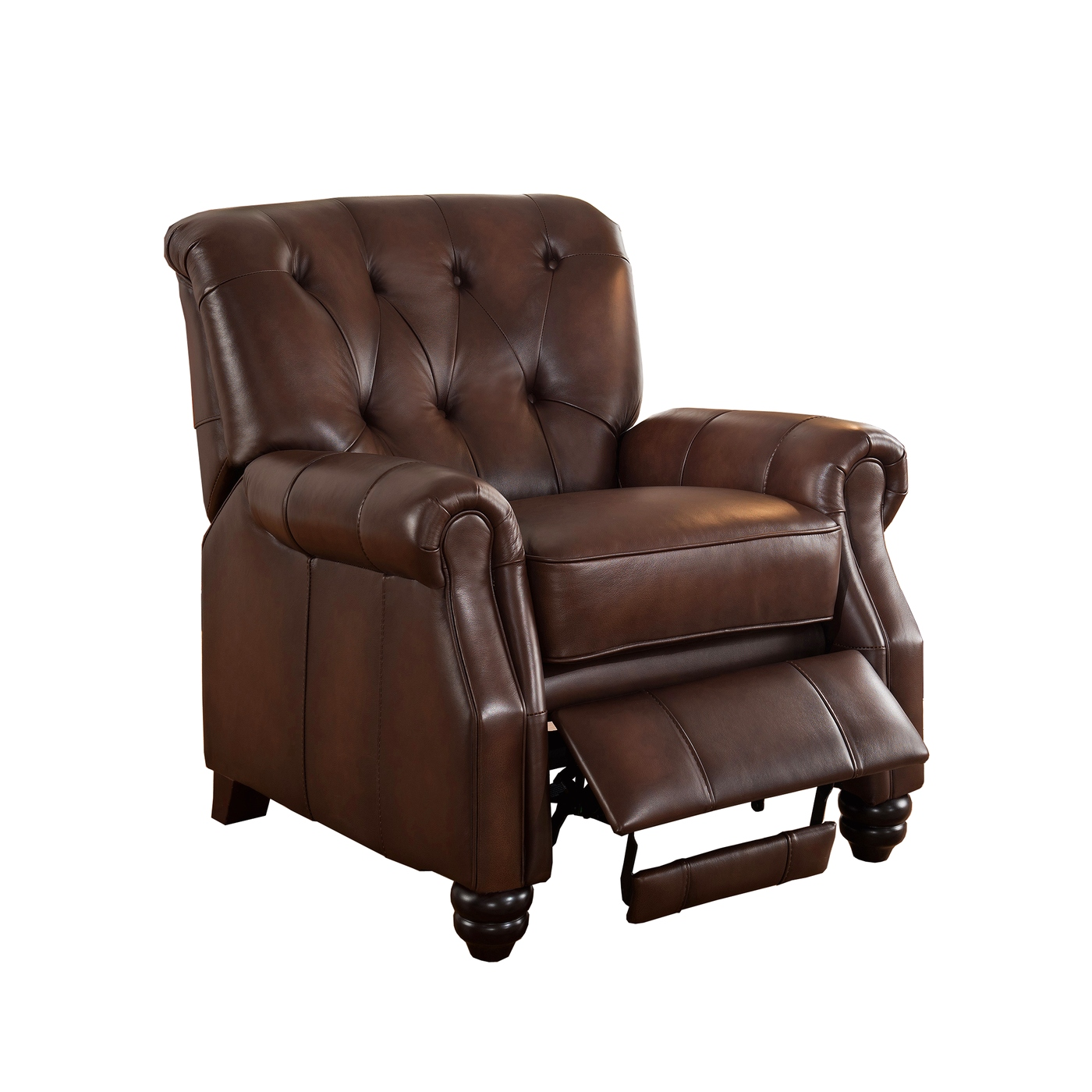 Best Leather Chairs Covington Traditional Top Grain Brown Leather Pushback