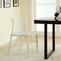 Curvy Contemporary Stackable Molded Plastic Dining Chairs ...