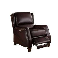 Brown Leather Recliner Chair Used Power Chairs Davis Traditional Genuine Dark Powered