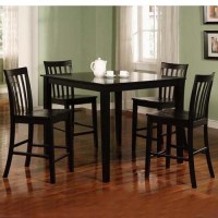Dining Room Set Table Counter Height Black Finish Coaster