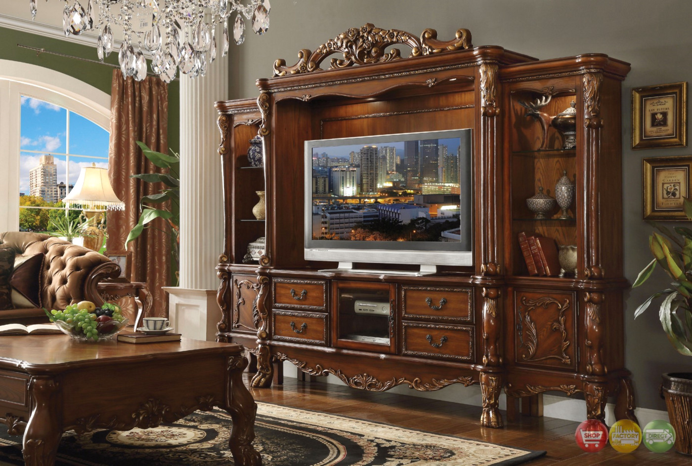 parker sofa and loveseat brown leather sectional sofas sale dresden carved wood 68 tv entertainment wall unit in ...