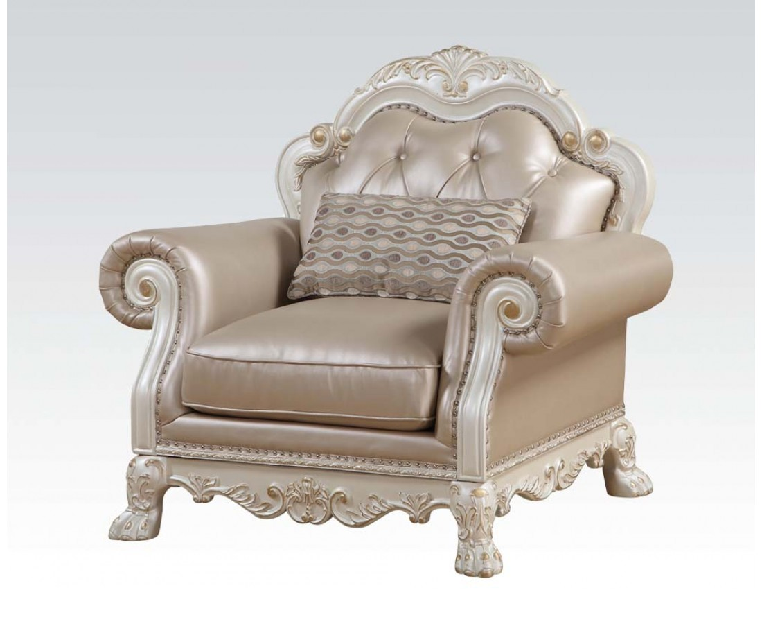 White And Gold Chair Dresden Formal Button Tufted Chair In Antique Pearl White