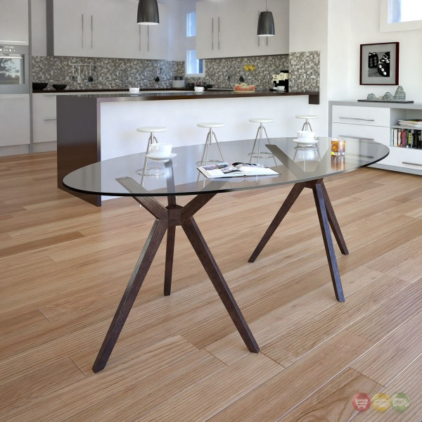 """Duet Modern 79"""" Glass Top Dining Table With Double Tripod"""