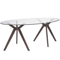 "Duet Modern 79"" Glass Top Dining Table With Double Tripod"