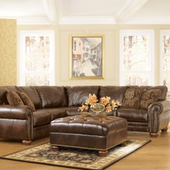 Ashley Bonded Leather Sectional Sofa Rochester Durablend Traditional Antique Brown By