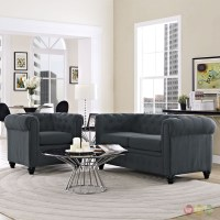 Earl Contemporary 2pc Fabric Upholstered Living Room Set, Gray