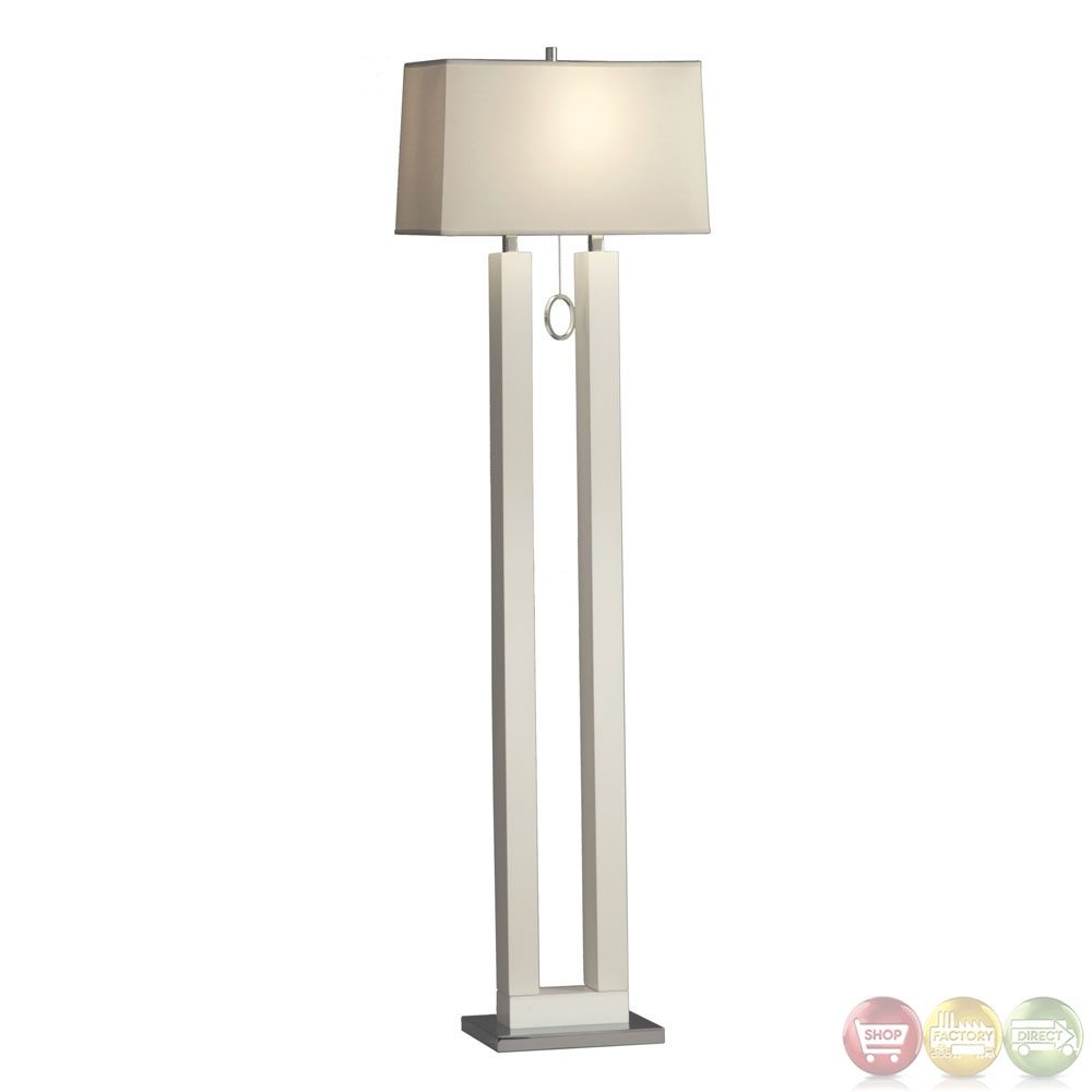 Earring Gloss White  Chrome Modern Design Floor Lamp 11640