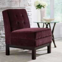 Eggplant Purple Button Tufted Armless Accent Chair with ...