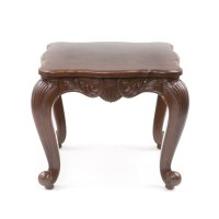 Elegant Traditional Carved Wood End Table w/ Cabriole Legs ...
