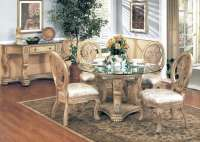 Emily Antique White Formal Dining Furniture Round Glass ...