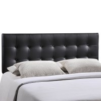 Emily Modern Button-tufted Queen Faux Leather Headboard, Black