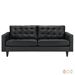 Tufted Button Sofa Craftsman Style Sectional Empress Contemporary Leather Black