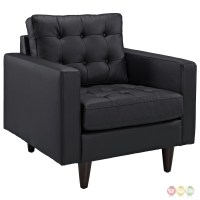 Empress Modern 2pc Button-tufted Leather Sofa And Armchair ...