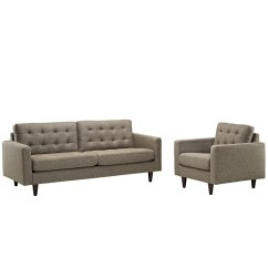 Oatmeal Sofa Set Cindy Crawford Home Sleeper Empress Modern 2pc Button Tufted Leather And Armchair