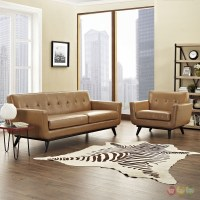 Engage Contemporary 2pc Button-tufted Leather Living Room ...