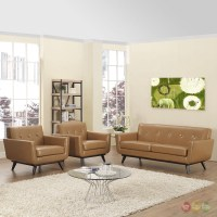 Engage Contemporary 3pc Button-tufted Leather Living Room ...