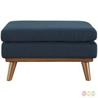 Engage Modern Button-tufted Upholstered Corner Ottoman, Azure