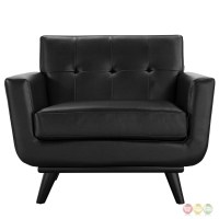 Engage Modern Bonded Leather Armchair With Button-tufted ...