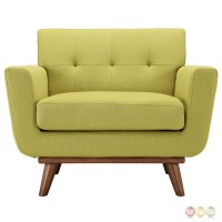 Engage Modern Upholstered Button-tufted Armchair With Wood ...