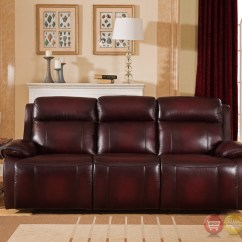 Genuine Leather Power Reclining Sofa Montauk Stanley Faraday Recline In Deep Red