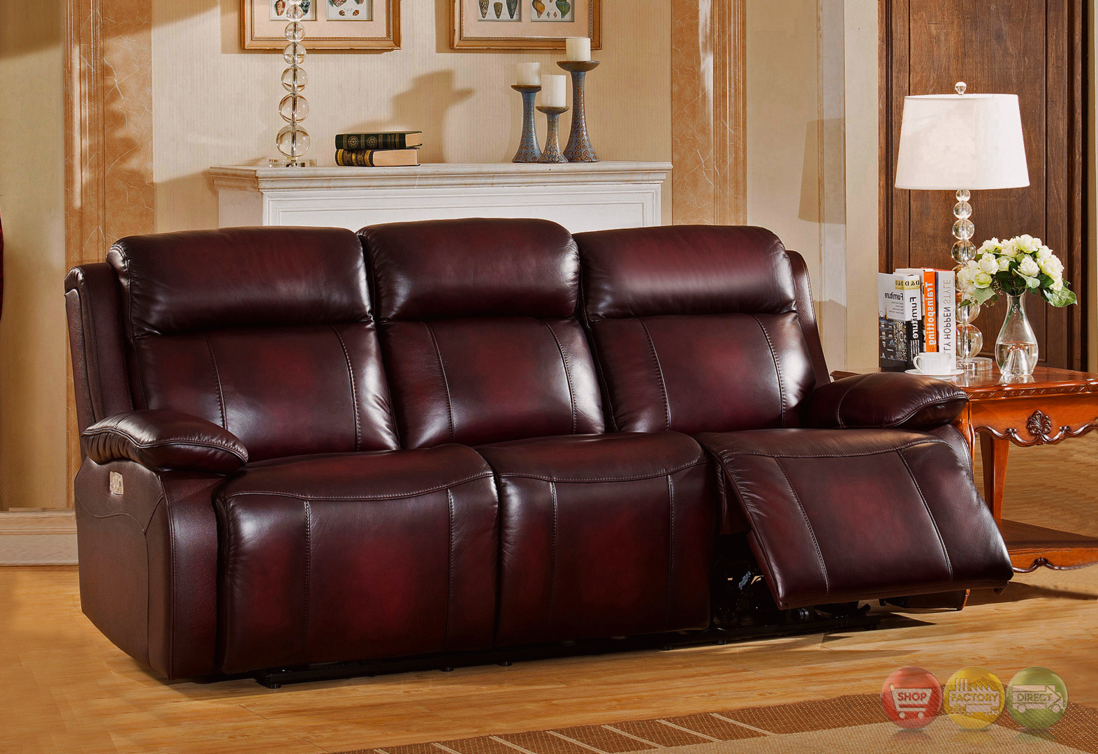 real leather sofa sets corner bed with storage canada faraday power recline 3pc set in deep red