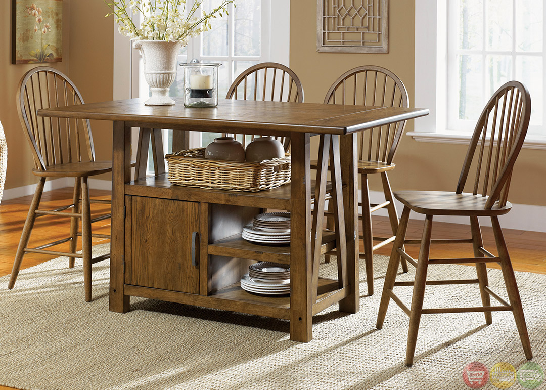 Farmhouse Table And Chairs Set Farmhouse Counter Height Storage Table Casual Dining Set