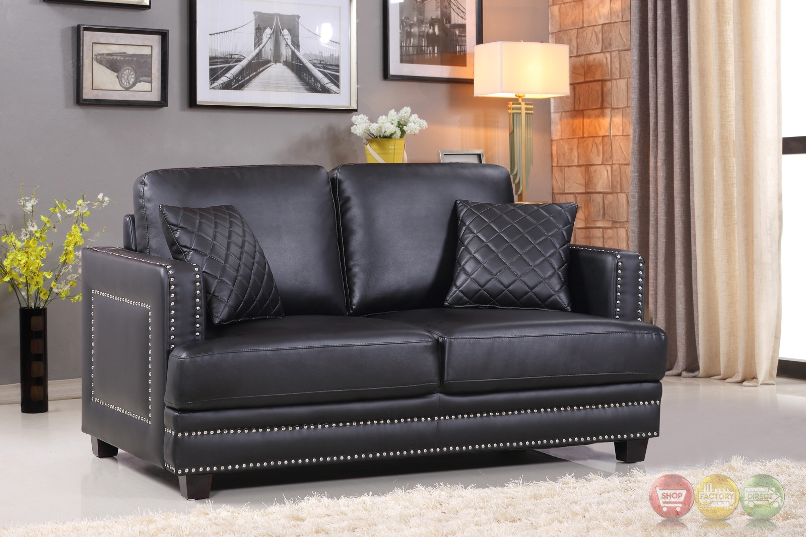 black leather sofa with nailheads 2 sofas or sectional ferrara dramatic and loveseat set