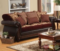 Fidelia Traditional Burgundy Living Room Set with Pillows ...