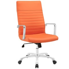 Office Chair Orange Infant Vibrating Finesse Modern Vinyl Upholstered High Back