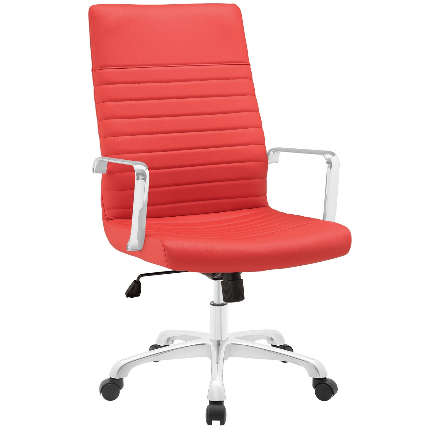 Red High Chair Finesse Modern Vinyl Upholstered High Back Office Chair Red