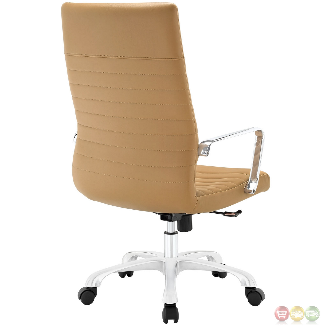 Tan Office Chair Finesse Modern Vinyl Upholstered High Back Office Chair Tan