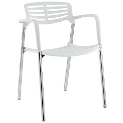White Stacking Chairs Plastic Lucia Rattan Chair Kmart Fleet Casual With Chrome Metal