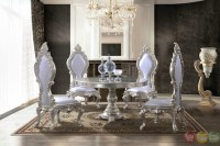 Formal Dining Room Table With Ornate Bonded Leather Chairs