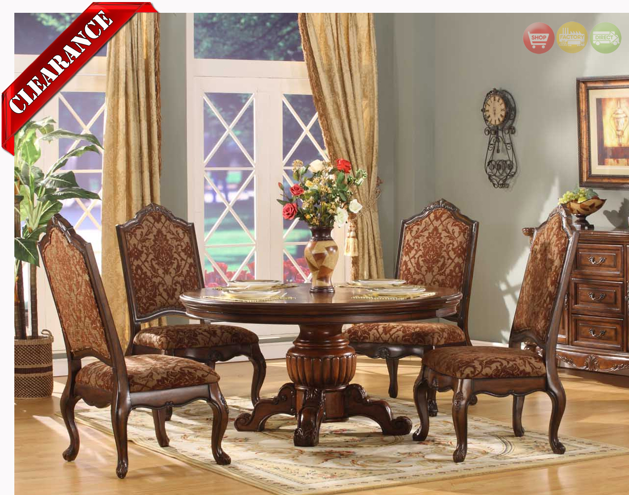 Formal Dining Room Chairs Traditional Round Walnut Finish Formal Dining Set D8401 6060