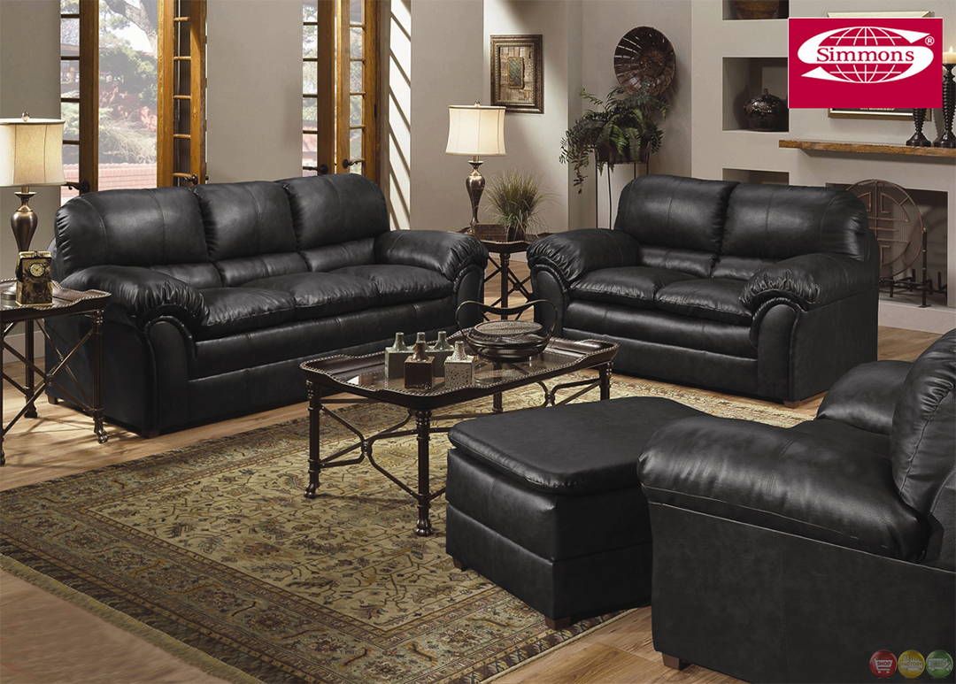 Leather Living Room Chair Geneva Black Bonded Leather Casual Living Room Set