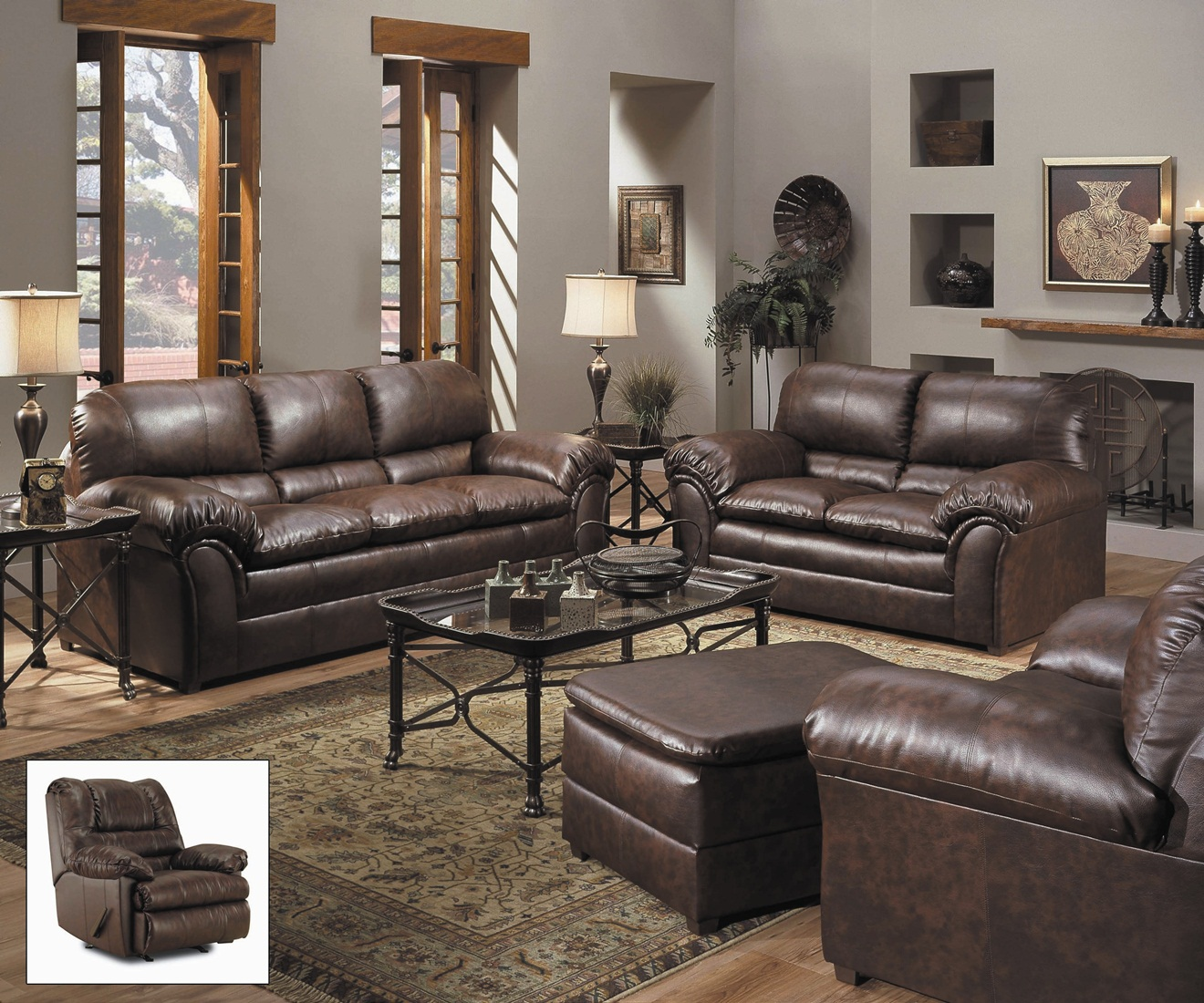 Leather Living Room Chair Geneva Classic Brown Bonded Leather Living Room Furniture