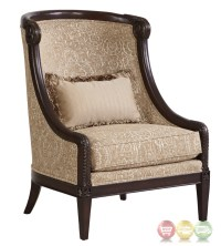Giovanna Beige Italian Azure Accent Chair with Carved Wood ...