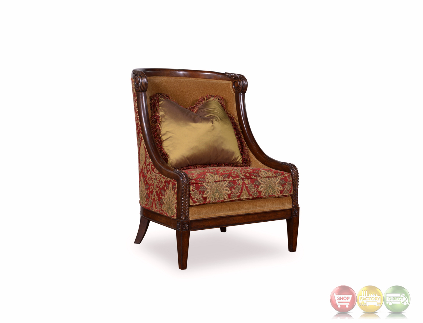 Red And White Accent Chair Giovanna Caramel Accent Chair With Red Damask And Wood Accents